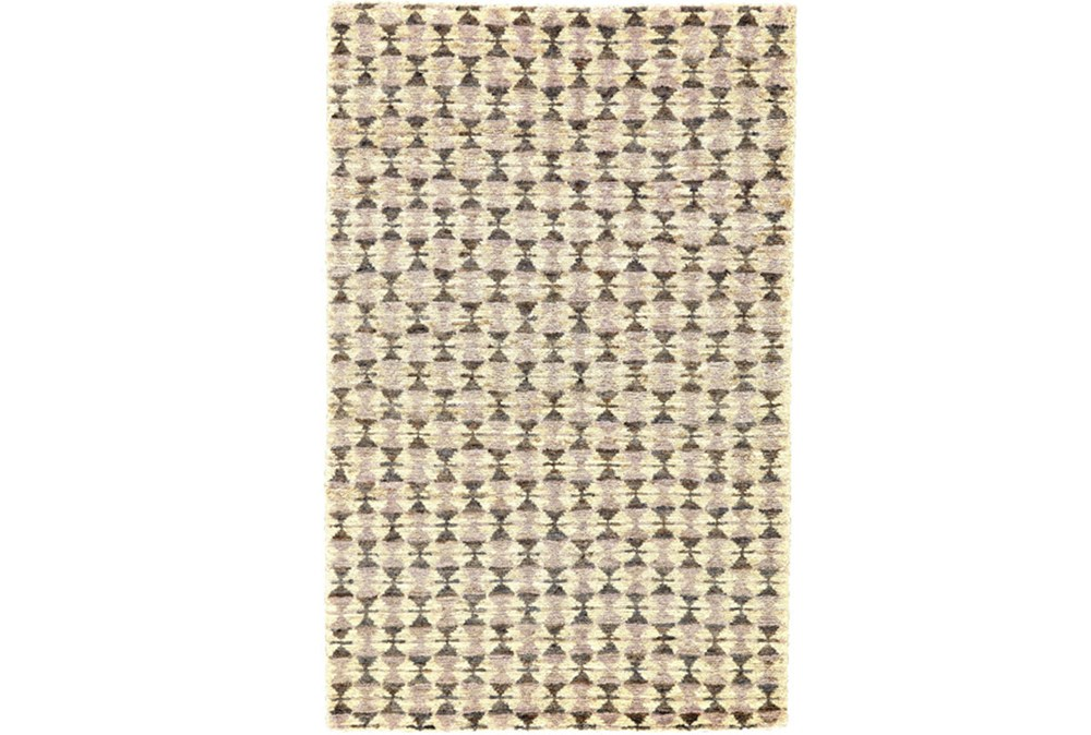 93X117 Rug-Violet Geometric Hand Knotted Jute