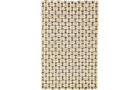 114X162 Rug-Violet Geometric Hand Knotted Jute