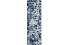 "2'6""x8' Rug-Royal Blue Distressed Medallion"
