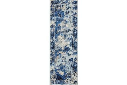 31X96 Rug-Royal Blue Distressed Medallion