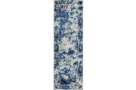 31X96 Rug-Royal Blue Distressed Medallion - Main
