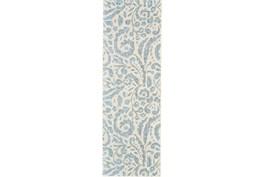 31X96 Rug-Light Blue Paisley Floral