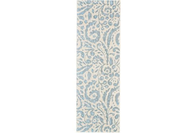 31X96 Rug-Light Blue Paisley Floral - 360