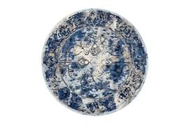 105 Inch Round Rug-Royal Blue Distressed Medallion