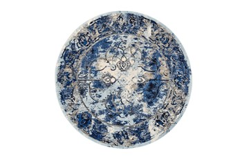 "8'7"" Round Rug-Royal Blue Distressed Medallion"
