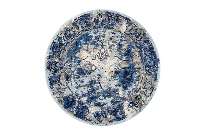 105 Inch Round Rug-Royal Blue Distressed Medallion - 360