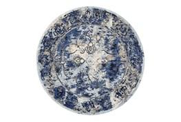 "8'7"" Round Rug-Royal Blue Distressed Medallion"