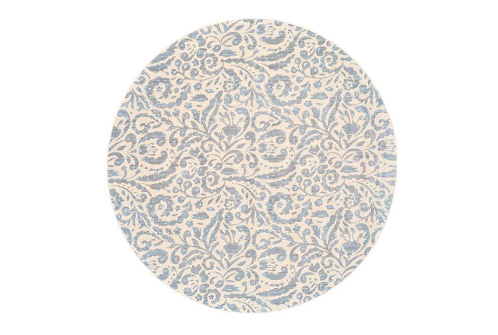 """8'7"""" Round Rug-Light Blue Paisley Floral"""