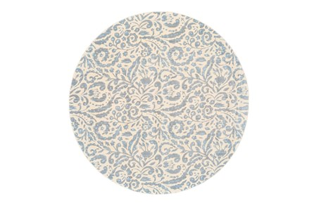 105 Inch Round Rug-Light Blue Paisley Floral - Main