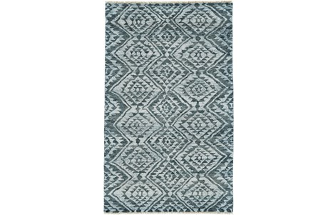 66X102 Rug-Aqua And Green Ganado Pattern