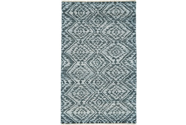93X117 Rug-Aqua And Green Ganado Pattern