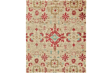 102X138 Rug-Red And Aqua Hand Knotted Jute