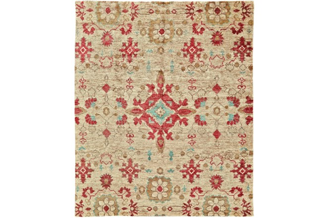 102X138 Rug-Red And Aqua Hand Knotted Jute - 360