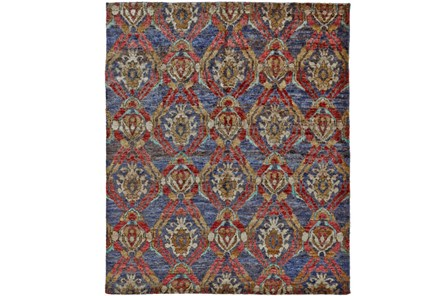 114X162 Rug-Navy And Red Hand Knotted Jute