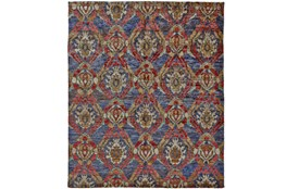 102X138 Rug-Navy And Red Hand Knotted Jute