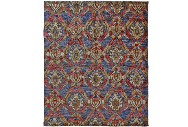 102X138 Rug-Navy And Red Hand Knotted Jute - 360