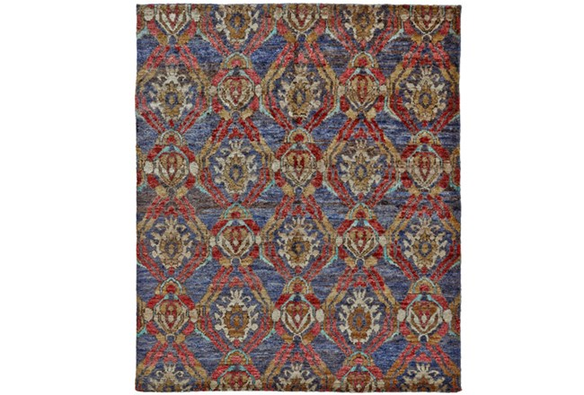2'x3' Rug-Navy And Red Hand Knotted Jute - 360