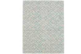 "3'5""x5'5"" Rug-Aqua And Oatmeal Shibori Diamonds"