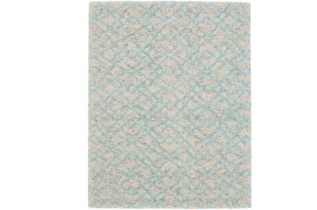 60X96 Rug-Aqua And Oatmeal Shibori Diamonds