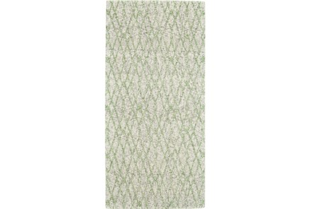 30X96 Rug-Green And Oatmeal Shibori Harlequin