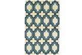 60X96 Rug-Blue Hand Carved Ogee - Signature