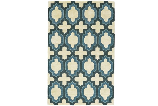 60X96 Rug-Blue Hand Carved Ogee - 360