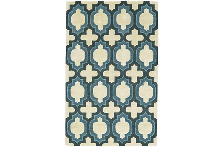 96X132 Rug-Blue Hand Carved Ogee
