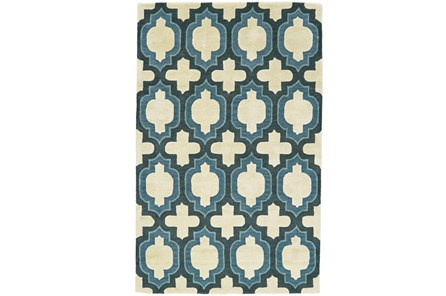 96X132 Rug-Blue Hand Carved Ogee - Main
