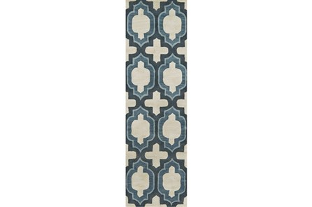30X96 Rug-Blue Hand Carved Ogee