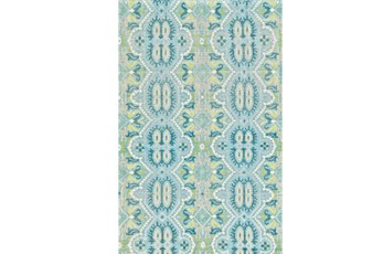 2'x3' Rug-Aqua And Green Hand Knotted Global Pattern