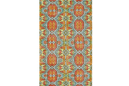 24X36 Rug-Orange And Aqua Hand Knotted Global Pattern