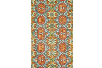 4'x6' Rug-Orange And Aqua Hand Knotted Global Pattern