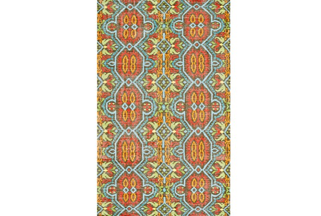 48X72 Rug-Orange And Aqua Hand Knotted Global Pattern - 360