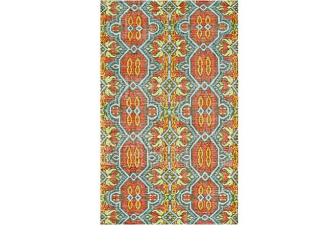 4'x6' Rug-Orange And Aqua Hand Knotted Global Pattern - 360