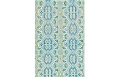 66X102 Rug-Aqua And Green Hand Knotted Global Pattern