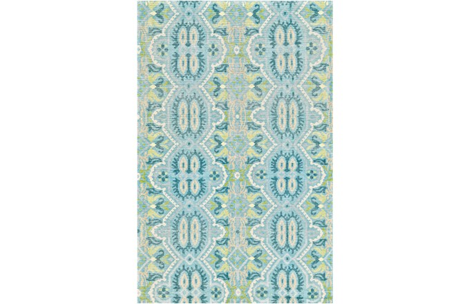 66X102 Rug-Aqua And Green Hand Knotted Global Pattern - 360