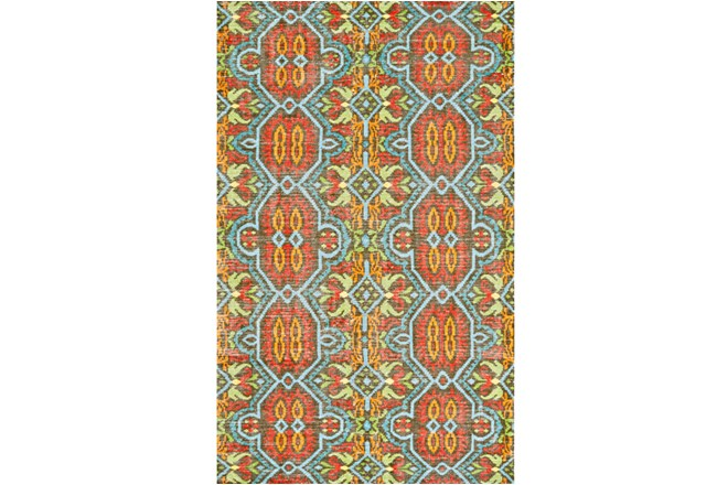 66X102 Rug-Orange And Aqua Hand Knotted Global Pattern - 360