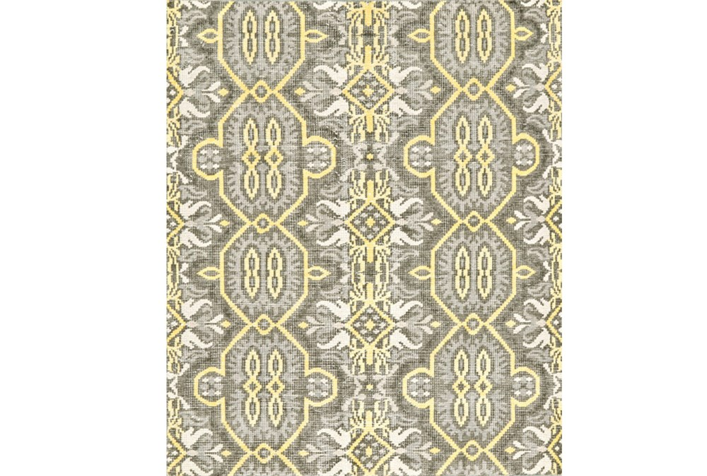 66X102 Rug-Yellow And Grey Hand Knotted Global Pattern