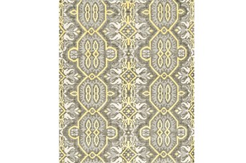 "5'5""x8'5"" Rug-Yellow And Grey Hand Knotted Global Pattern"