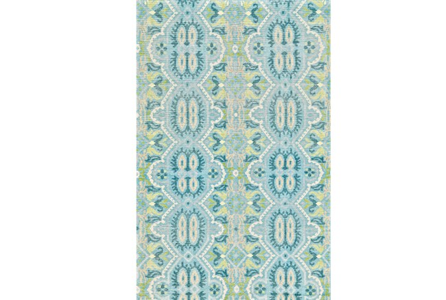 93X117 Rug-Aqua And Green Hand Knotted Global Pattern - 360