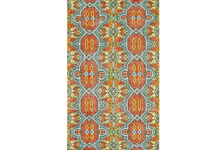 93X117 Rug-Orange And Aqua Hand Knotted Global Pattern