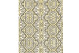 93X117 Rug-Yellow And Grey Hand Knotted Global Pattern - Signature