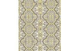93X117 Rug-Yellow And Grey Hand Knotted Global Pattern