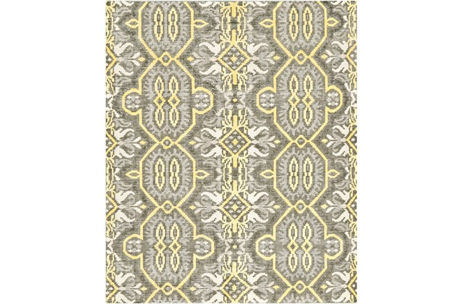 93X117 Rug-Yellow And Grey Hand Knotted Global Pattern - 360