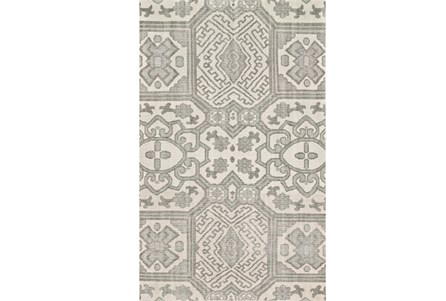 93X117 Rug-Graphite Hand Knotted Global Pattern