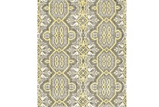 102X138 Rug-Yellow And Grey Hand Knotted Global Pattern