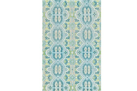 114X162 Rug-Aqua And Green Hand Knotted Global Pattern