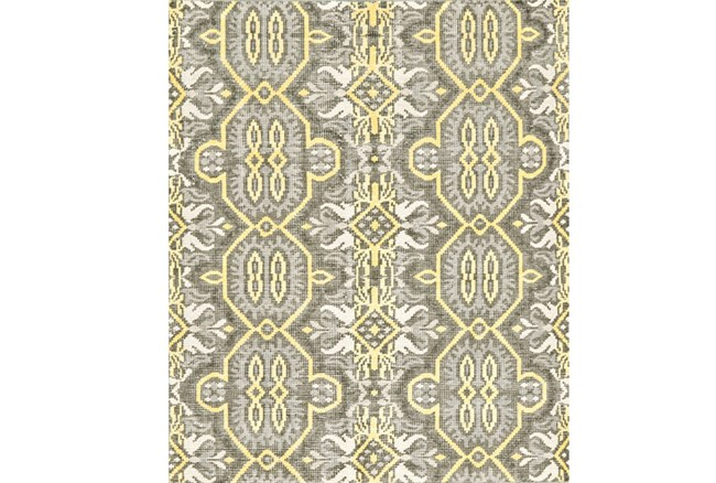 114X162 Rug-Yellow And Grey Hand Knotted Global Pattern - 360