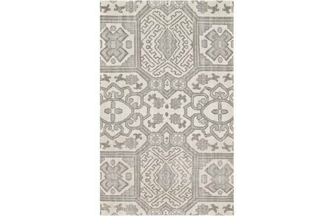 114X162 Rug-Graphite Hand Knotted Global Pattern - 360