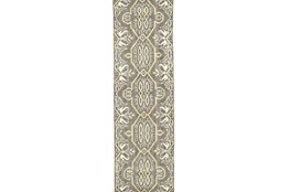 30X96 Rug-Yellow And Grey Hand Knotted Global Pattern